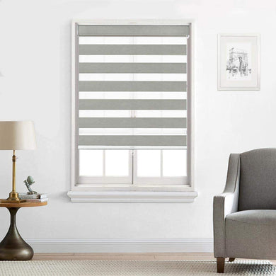 North Hills Home Customized Cordless Zebra Shades, Free-Stop Light Filtering Zebra Roller Blinds for Bedroom/Living Room/Office, Grey