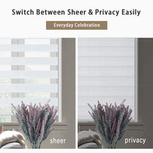 Load image into Gallery viewer, North Hills Home Customized Cordless Zebra Shades, Free-Stop Light Filtering Zebra Roller Blinds for Bedroom/Living Room/Office, White