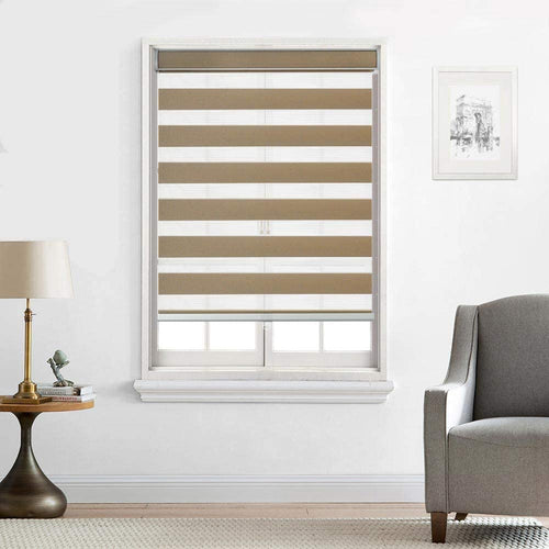 North Hills Home Customized Cordless Zebra Shades, Free-Stop Light Filtering Zebra Roller Blinds for Bedroom/Living Room/Office Taupe, White, Grey