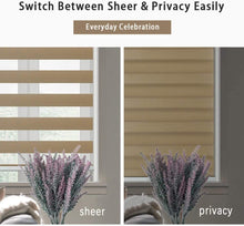Load image into Gallery viewer, North Hills Home Customized Cordless Zebra Shades, Free-Stop Light Filtering Zebra Roller Blinds for Bedroom/Living Room/Office Sand