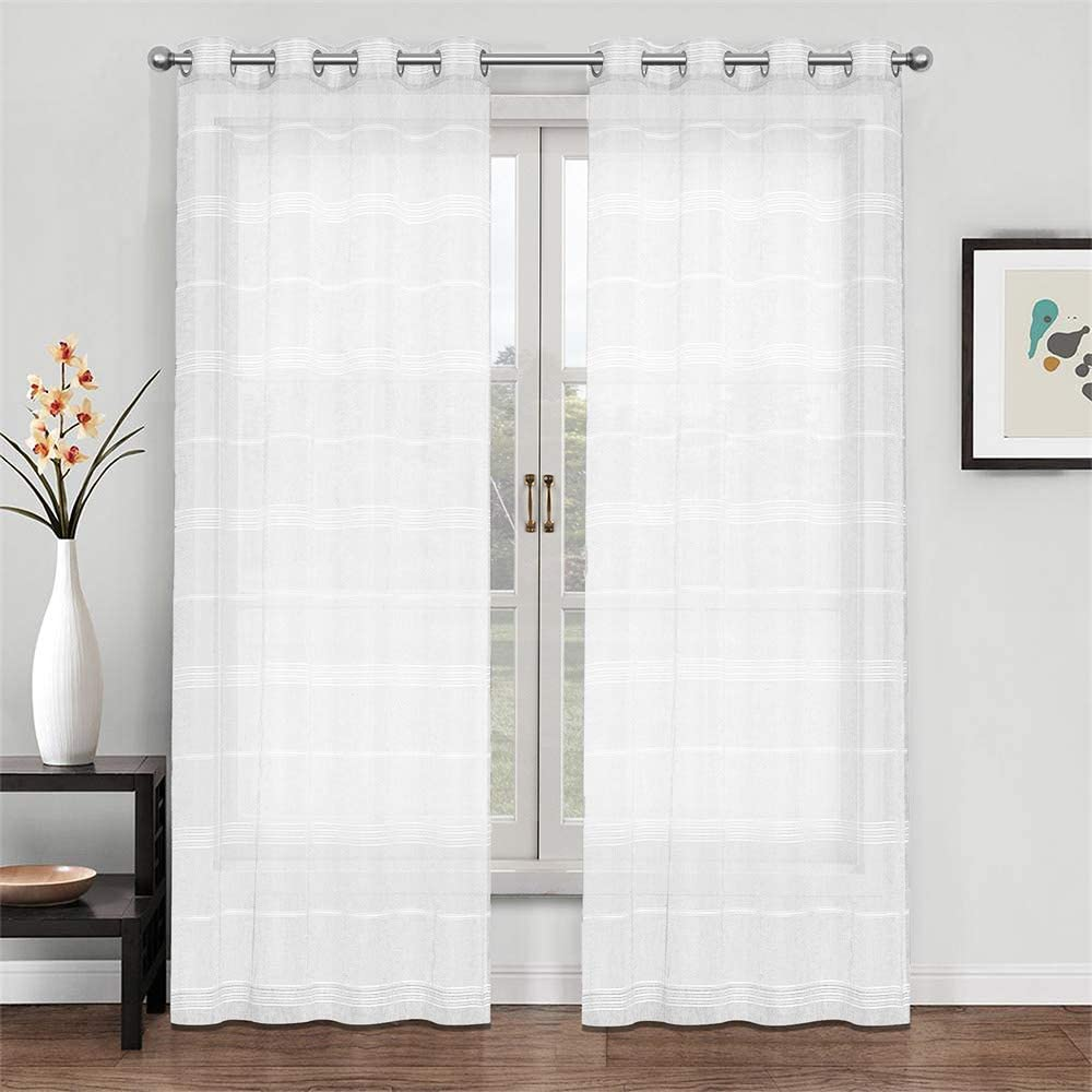 North Hills Home Striped Sheer Curtains for Living Room, Linen Textured Grommet Voile Summer Night Semi Sheer Curtains for Bedroom