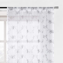 Load image into Gallery viewer, North Hills Home Floral Rose Embroidery Sheer Curtains for Living Room, Linen Textured Rod Pocket Semi Sheer Voile Drapes