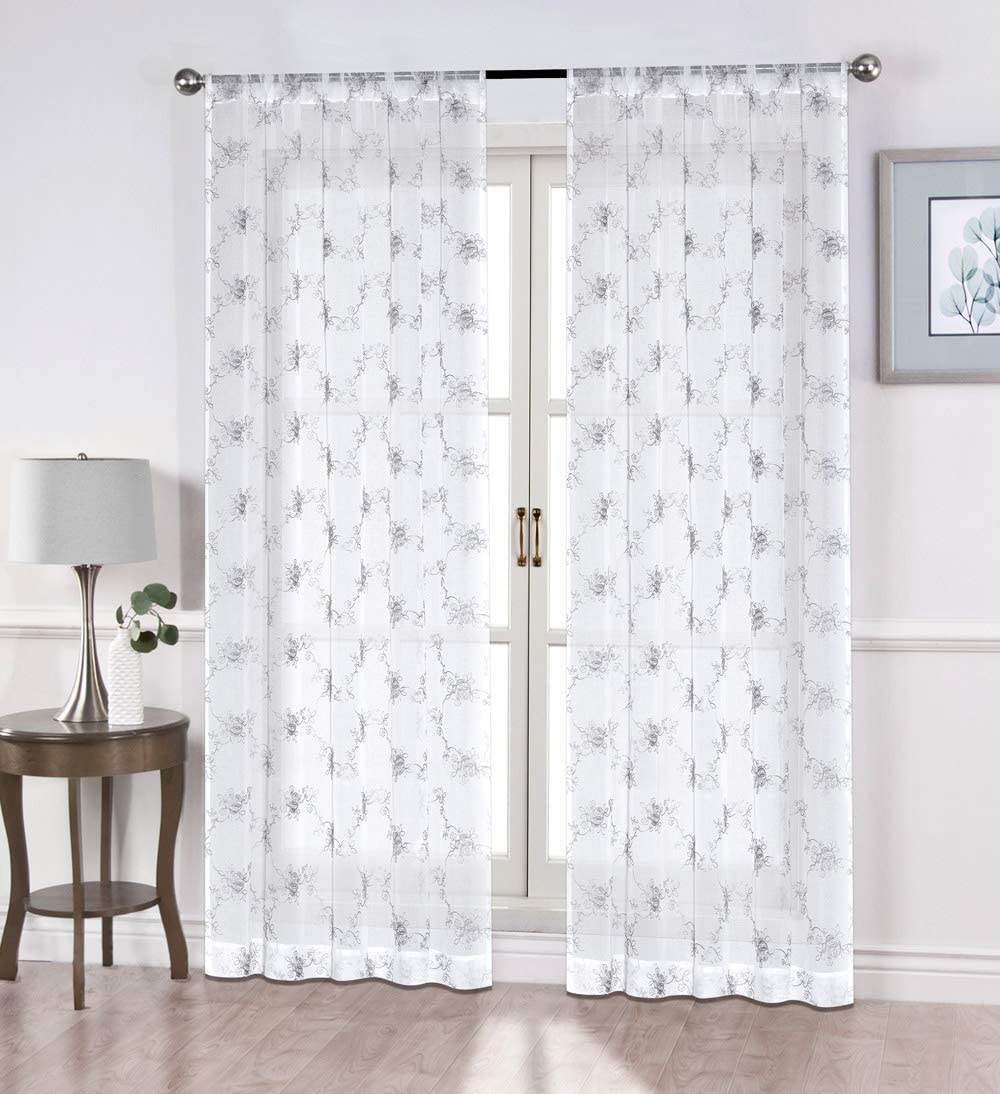 North Hills Home Floral Rose Embroidery Sheer Curtains for Living Room, Linen Textured Rod Pocket Semi Sheer Voile Drapes