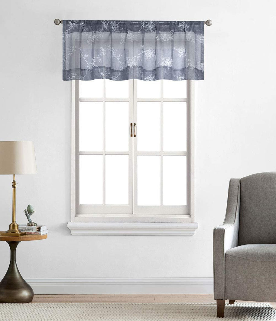 North Hills Home Floral Rose Embroidery Sheer Valance Curtains for Windows, Rod Pocket Valance