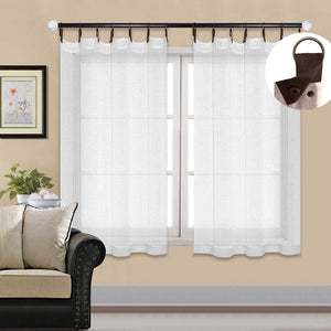 North Hills Home Snap Grommet Sheer Curtains for Bedroom, Linen Textured Voile Semi Sheer Curtain Drapes for Living Room