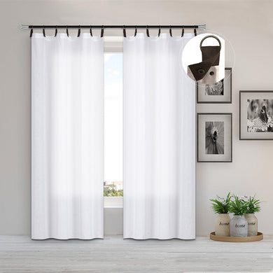 North Hills Home Faux Leather and Grommet Header Semi-Sheer Panel Sherbrooke White/Natural
