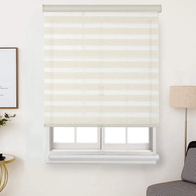 FauxLinen Zebra Shade, Cordless Free-Stop Zebra Blind with Dual Layer Natural linen and Steel Grey