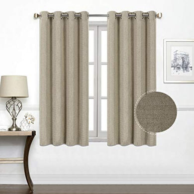 North Hills Home Natural/Charcoal/Gray/Red/Coffee Jacquard Textured Weave Curtains, Blackout Curtain Drapes for Bedroom Living Room Polyester Ashbury Grommet Panel