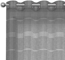 Load image into Gallery viewer, North Hills Home Chenille Stripe Sheer White/Charcoal/Natural/Stone Curtain Summer Night Indoor and Commercial Use