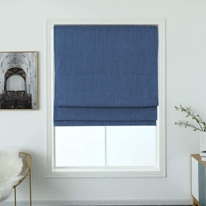 North Hills Home Cordless Woven Blackout Roman Shade with Modern Cotton Seneca Look Denim Blue/Earl Gray/French Vanilla