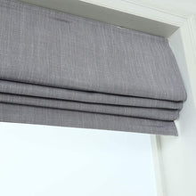 Load image into Gallery viewer, North Hills Home Cordless Woven Blackout Roman Shade with Modern Cotton Seneca Look Denim Blue/Earl Gray/French Vanilla