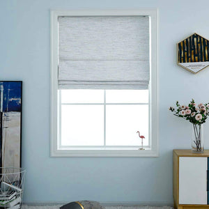 North Hills Home Washable Blackout Cordless Roman Shades for Windows, Double Tone Color Jacquard Textured Woven Polyester Belmar Romar Blind for Living Room/Bedroom