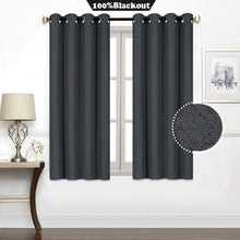 Load image into Gallery viewer, North Hills Home Blue/Charcoal/Grey/Natural Premium Soft Bedroom Curtains, Cashmere Texture Room Darkening Sunbar Drapes