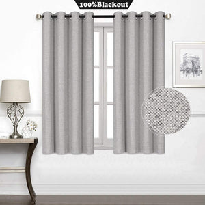 North Hills Home Blue/Charcoal/Grey/Natural Premium Soft Bedroom Curtains, Cashmere Texture Room Darkening Sunbar Drapes