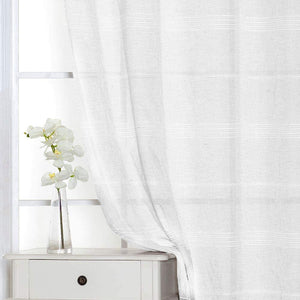 North Hills Home Chenille Stripe Sheer White/Charcoal/Natural/Stone Curtain Summer Night Indoor and Commercial Use