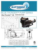 Blue Thunder In Ground Single Speed 2 Inch Ports To Retro-Fit to Most Pentair Whisper Flow Pumps