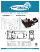 1.5 HP Blue Torrent Typhoon  56 Frame In Ground Pump Drops In For Hayward Super Pump Plumbing