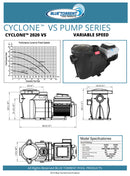 3HP Energy Star Variable Speed In Ground Blue Torrent Cyclone Swimming Pool Pump (Qualifies for Utility Rebates)