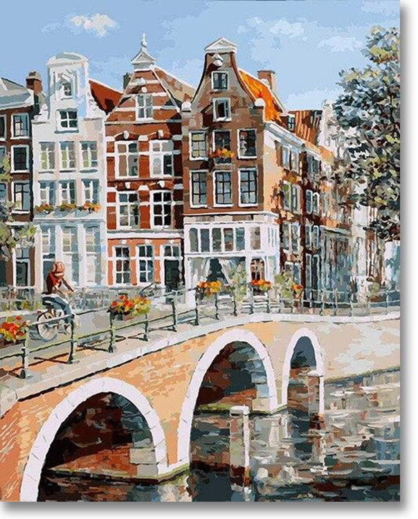 View Of Amsterdam Canal - Paint By Numbers