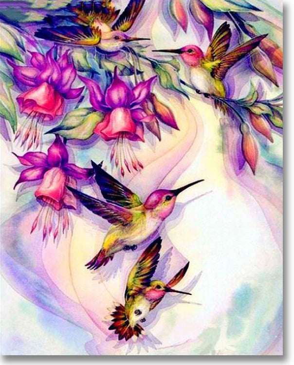 Adorable Hummingbirds - Paint By Numbers