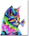 Colorful Cat And Butterfly - Paint By Numbers
