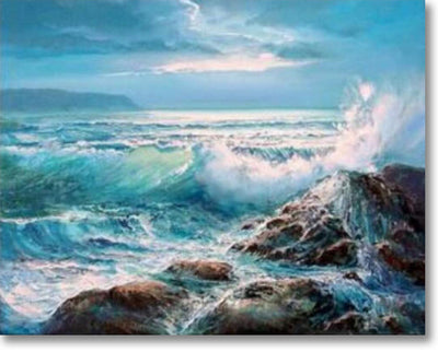 Waves Crashing On Rocks - Paint By Numbers
