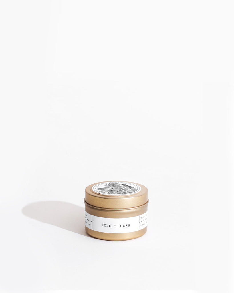 Fern + Moss Gold Travel Candle Mini Candle Tins Brooklyn Candle Studio