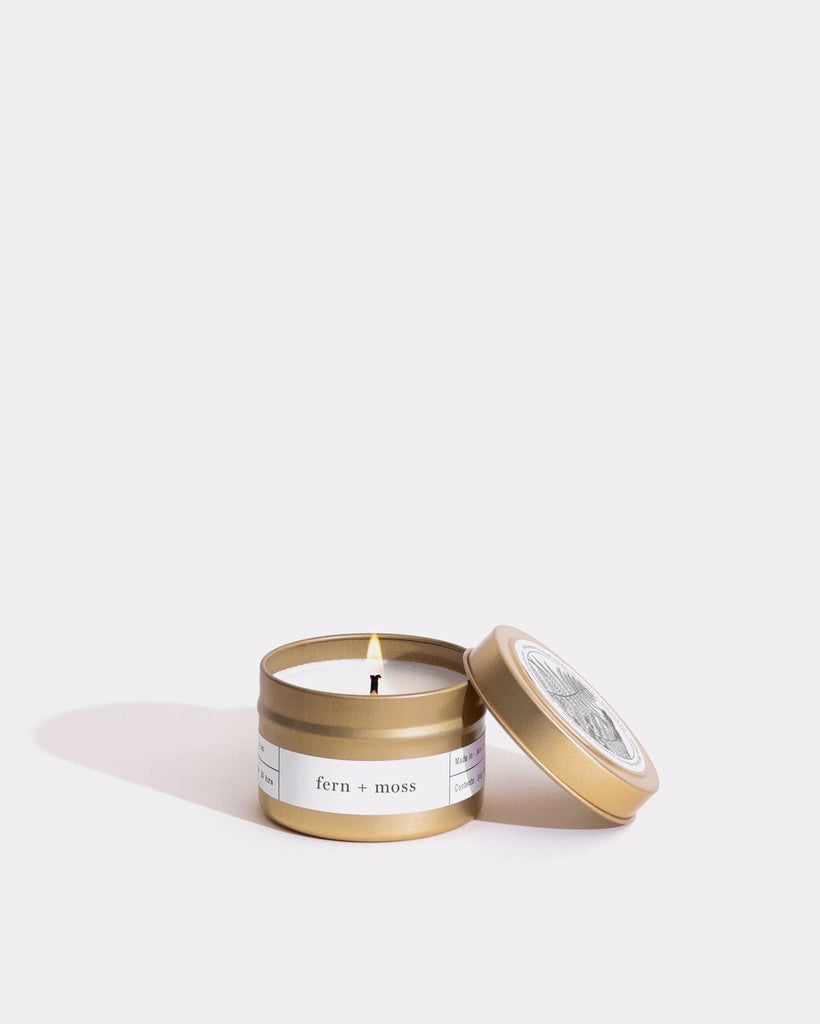 Fern + Moss Gold Travel Candle Mini Bougies Boîtes Brooklyn Candle Studio