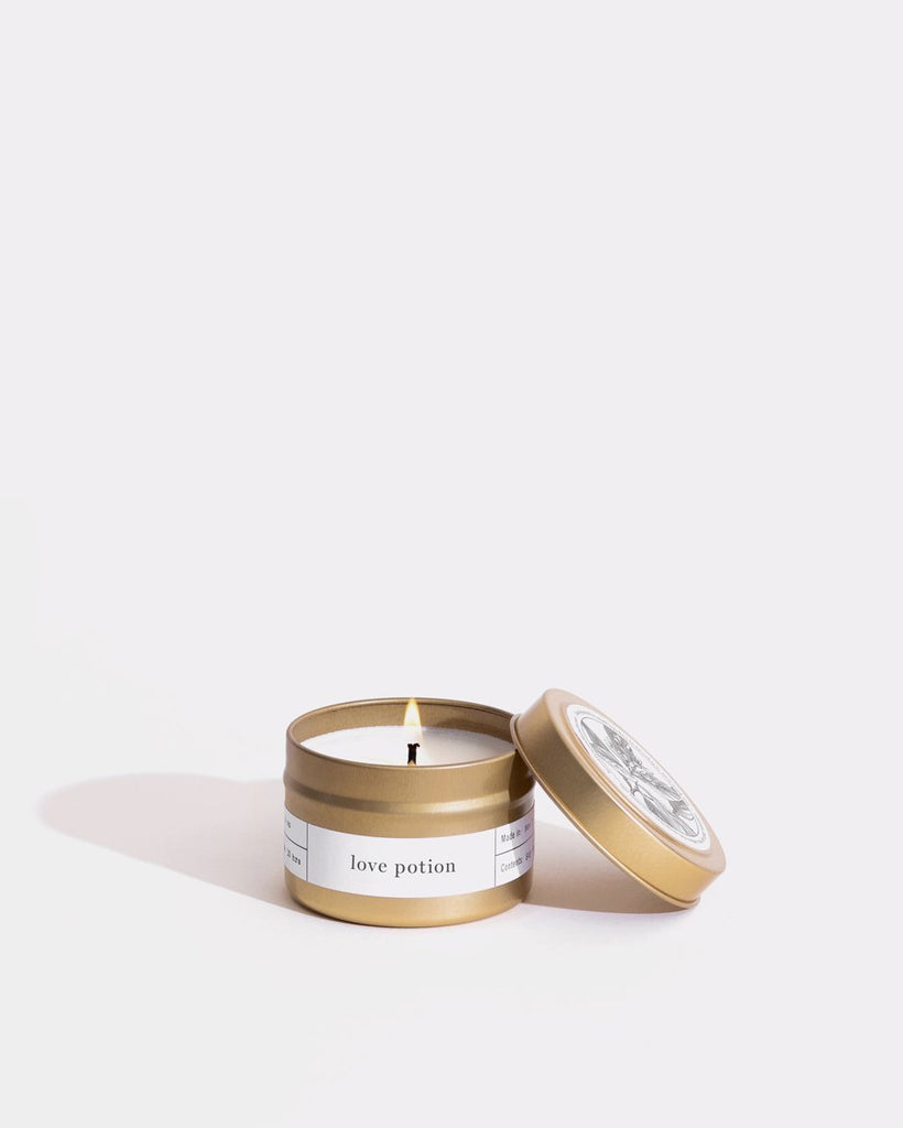 Love Potion Gold Travel Candle Mini Bougie Boîtes Brooklyn Candle Studio