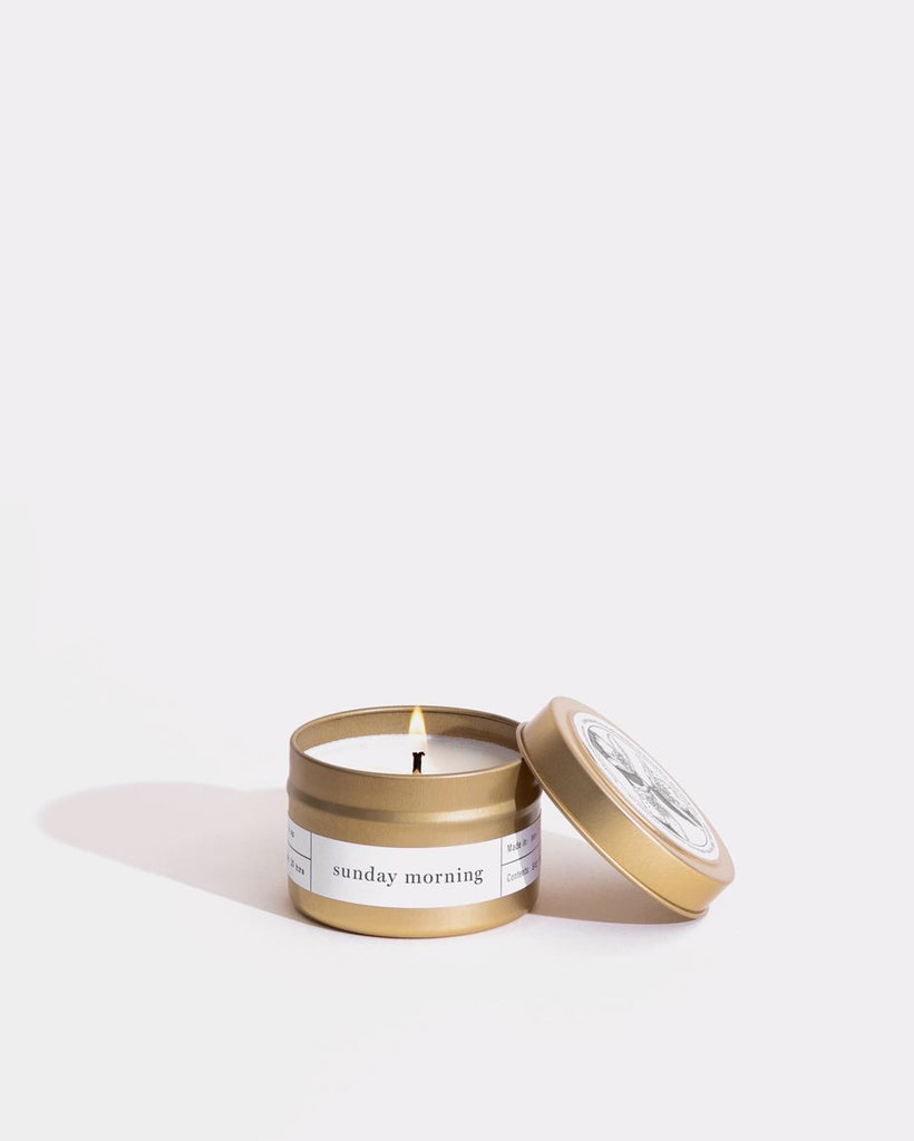 Sunday Morning Gold Travel Candle Mini Bougie Boîtes Brooklyn Candle Studio