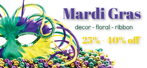 Ellis Home and Garden Mardi Gras Decor, Ribbon, Floral and more on sale now!