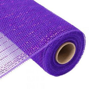 "10"" Metallic Deco Mesh - Purple-10"" Deco Mesh-Ellis Home & Garden"