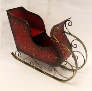 "12"" Red Metal Sleigh with Gold Stars-Christmas Decor-Ellis Home & Garden"