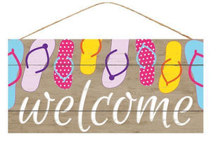 "12.5"" Welcome Flip Flops Wood Sign-Spring Decor-Ellis Home & Garden"