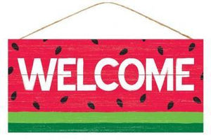 "12.5"" Welcome Watermelon Wood Sign-Spring Decor-Ellis Home & Garden"