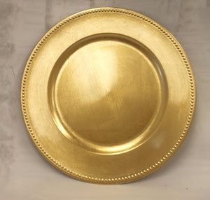 "13"" Charger Plate with Beaded Rim - Gold-Christmas Decor-Ellis Home & Garden"