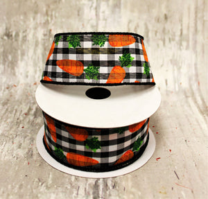 "1.5"" Carrots on Black & White Gingham Ribbon-Easter Ribbon-Ellis Home & Garden"