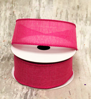 "1.5"" Fuchsia Linen Spring Ribbon - 5 yards-Spring Ribbon-Ellis Home & Garden"