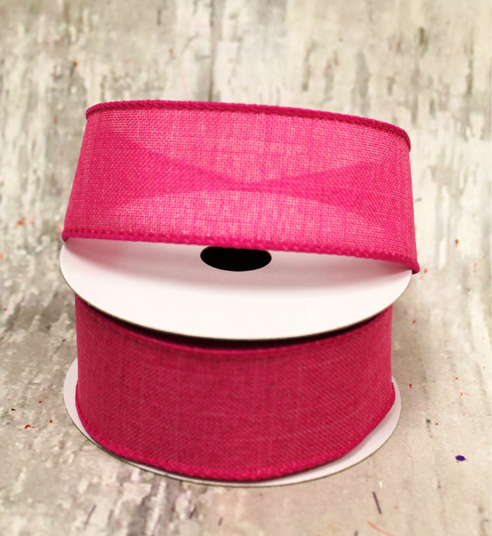 "1.5"" Fuchsia Linen Spring Ribbon - 5 yards"