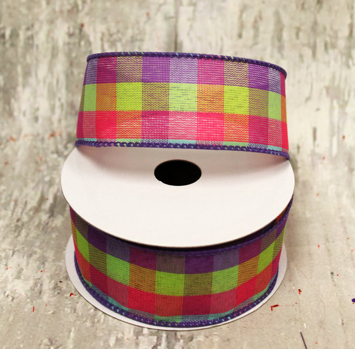 "1.5"" Pink, Lime, Purple & Aqua Plaid Spring Ribbon - 5 yards"