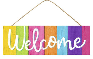 "15"" Welcome Bright Stripes Wood Sign-Spring Decor-Ellis Home & Garden"
