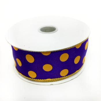 "1.5"" Wired Purple with Yellow Polka Dots Satin Ribbon"