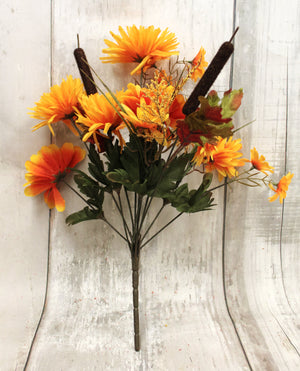 "16"" Fall Mums & Cattails Floral Bush-Fall Harvest Floral Bushes-Ellis Home & Garden"