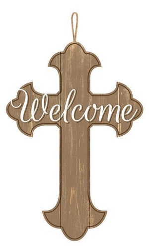 "16"" Wood Welcome Cross-Home Decor-Ellis Home & Garden"