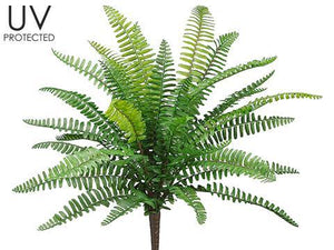 "19"" UV Protected Boston Fern Floral Bush-Greenery-Ellis Home & Garden"