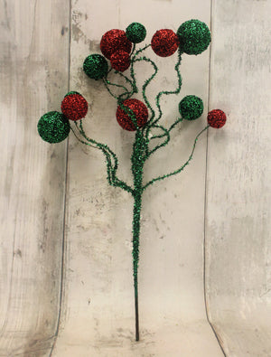 "20"" Red & Emerald Green Curly Ball Floral Spray-Christmas Floral-Ellis Home & Garden"
