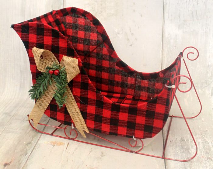 "13"" Red & Black Buffalo Plaid Sleigh"