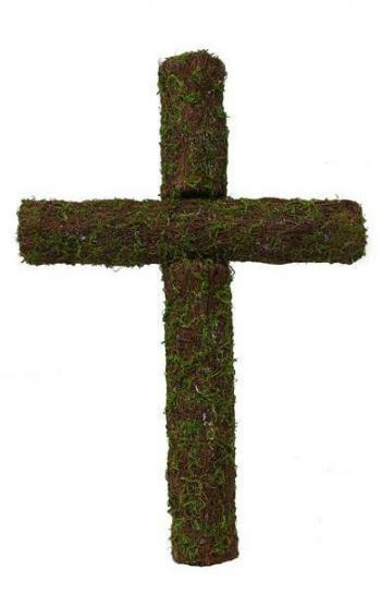 "24"" Moss & Angel Vine Cross"