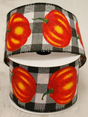 "2.5"" Black and White Buffalo Plaids with Pumpkins Ribbon-Fall Harvest Ribbon-Ellis Home & Garden"