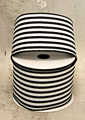 "2.5"" Black & White Stripe Spring Ribbon-Spring Ribbon-Ellis Home & Garden"